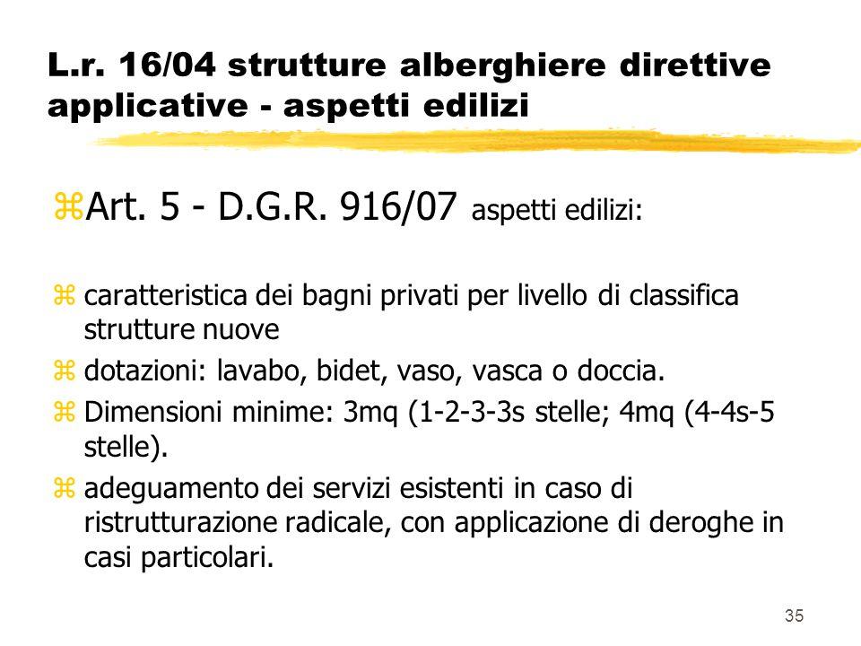35 L.r. 16/04 strutture alberghiere direttive applicative - aspetti edilizi zArt. 5 - D.G.R. 916/07 aspetti edilizi: zcaratteristica dei bagni privati