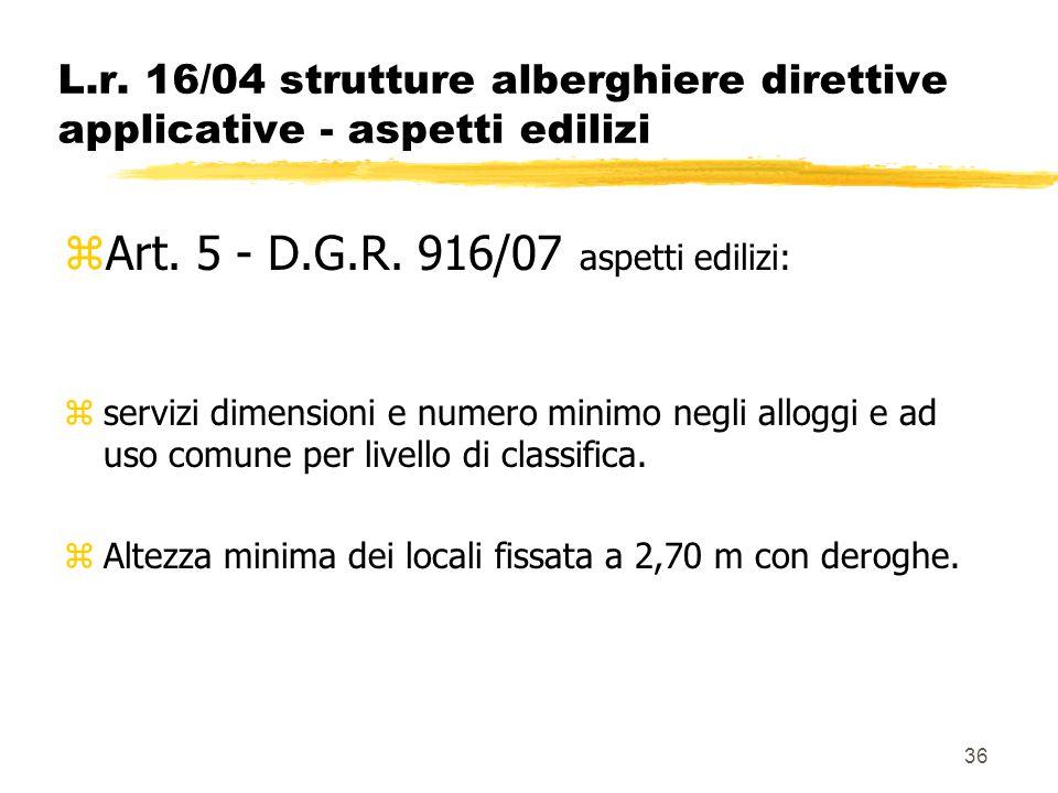 36 L.r. 16/04 strutture alberghiere direttive applicative - aspetti edilizi zArt. 5 - D.G.R. 916/07 aspetti edilizi: zservizi dimensioni e numero mini