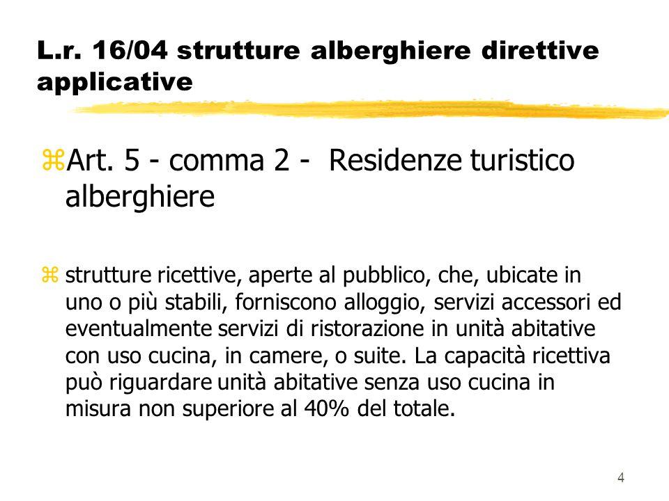 4 L.r. 16/04 strutture alberghiere direttive applicative zArt. 5 - comma 2 - Residenze turistico alberghiere zstrutture ricettive, aperte al pubblico,