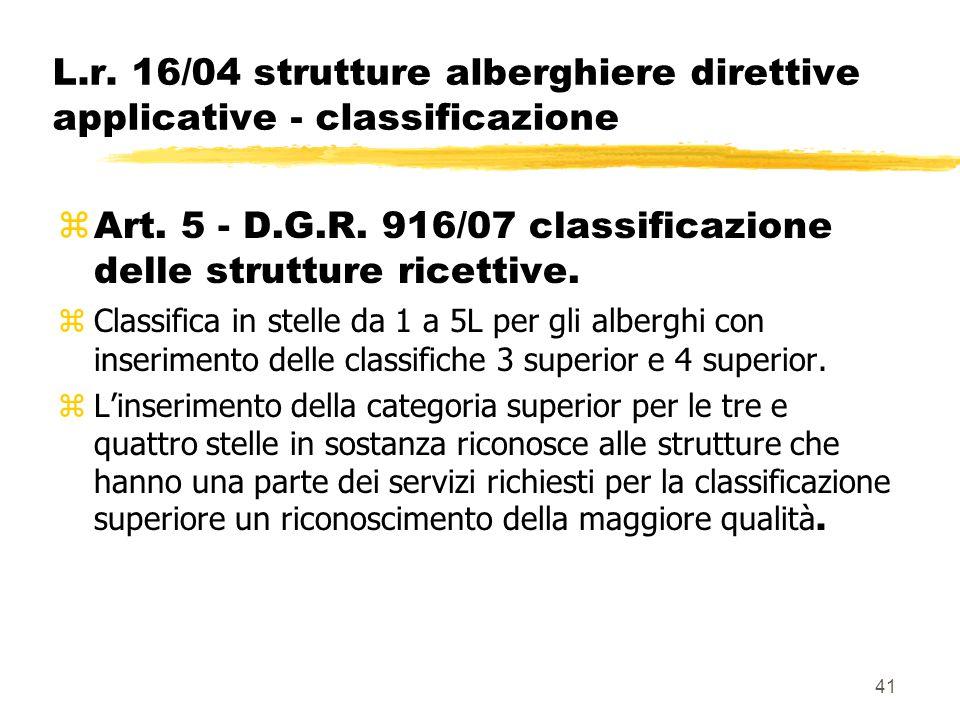 41 L.r. 16/04 strutture alberghiere direttive applicative - classificazione  Art. 5 - D.G.R. 916/07 classificazione delle strutture ricettive. zClass