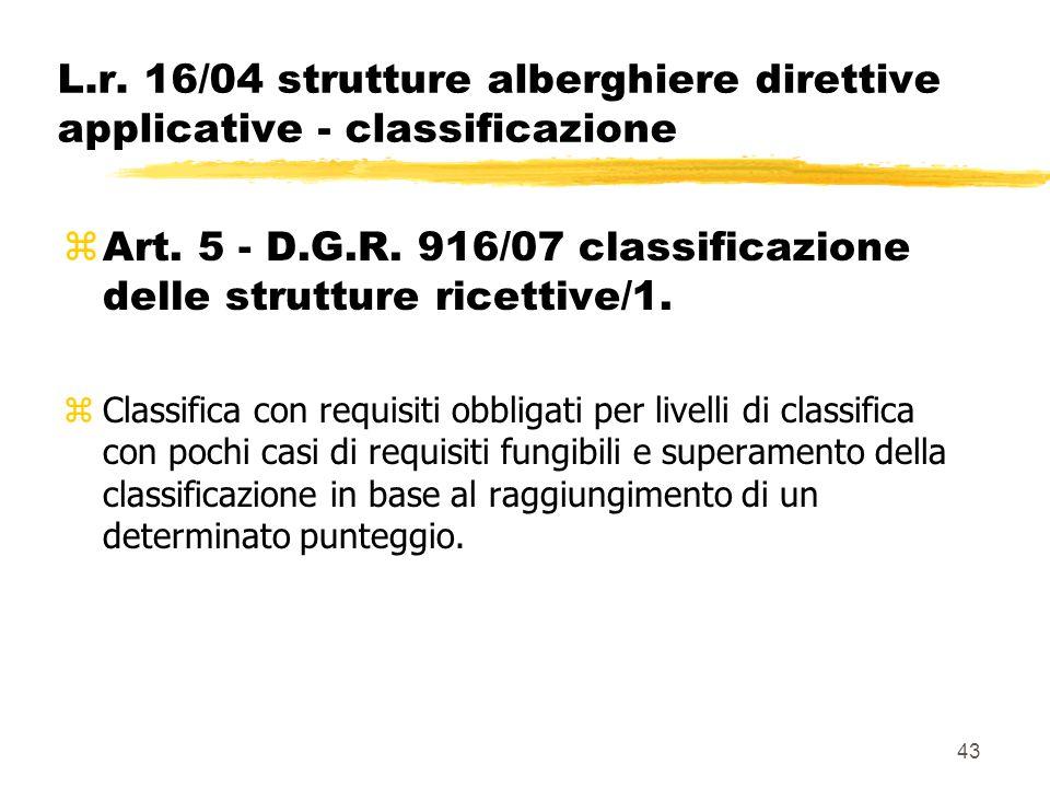 43 L.r. 16/04 strutture alberghiere direttive applicative - classificazione  Art. 5 - D.G.R. 916/07 classificazione delle strutture ricettive/1. zCla