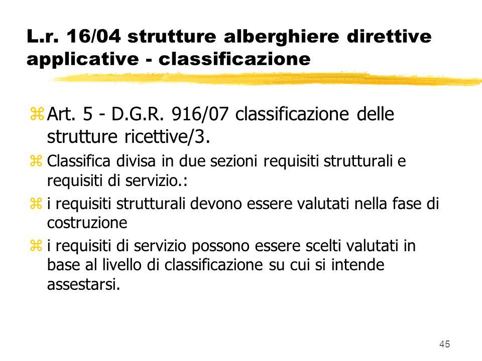 45 L.r. 16/04 strutture alberghiere direttive applicative - classificazione zArt. 5 - D.G.R. 916/07 classificazione delle strutture ricettive/3. zClas