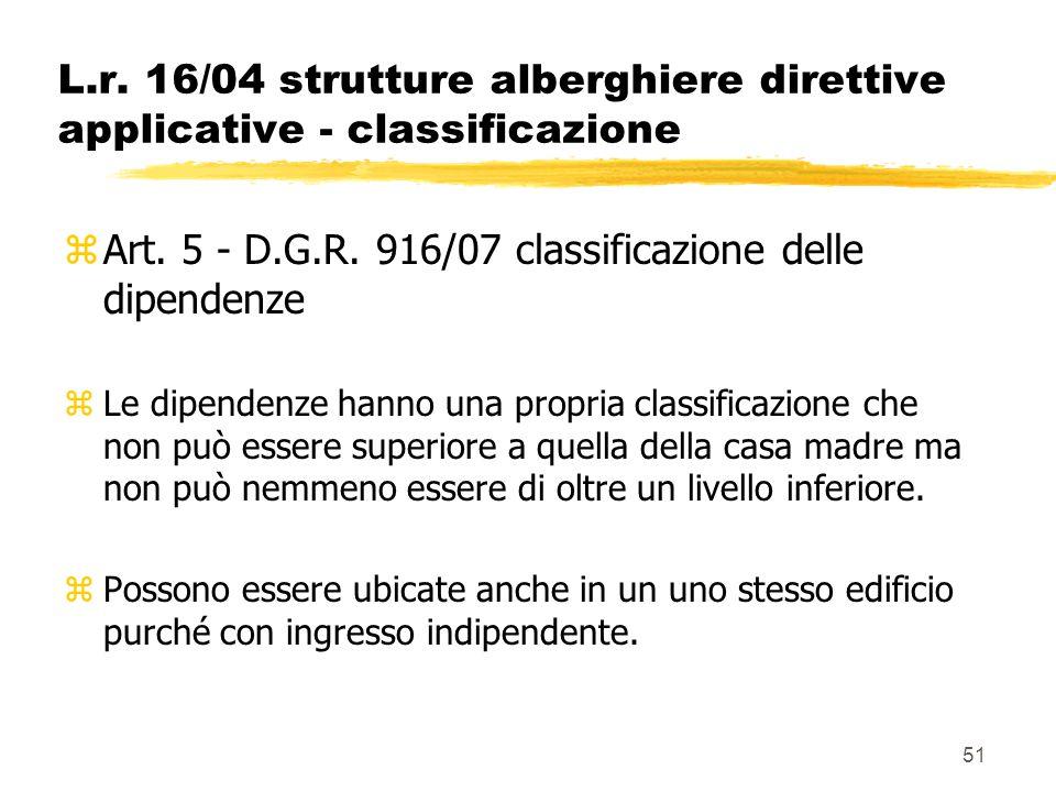 51 L.r. 16/04 strutture alberghiere direttive applicative - classificazione zArt. 5 - D.G.R. 916/07 classificazione delle dipendenze zLe dipendenze ha