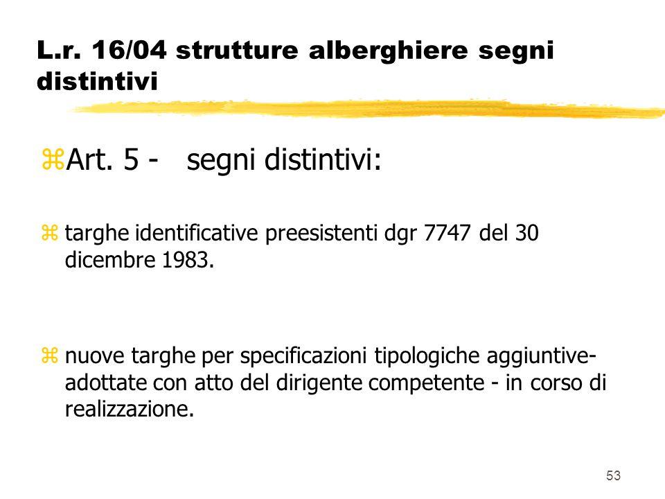 53 L.r. 16/04 strutture alberghiere segni distintivi zArt. 5 - segni distintivi: ztarghe identificative preesistenti dgr 7747 del 30 dicembre 1983. zn