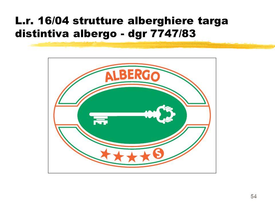 54 L.r. 16/04 strutture alberghiere targa distintiva albergo - dgr 7747/83
