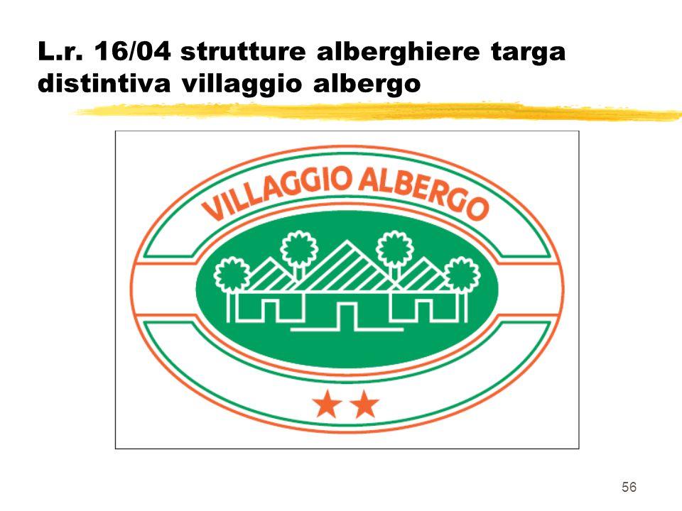 56 L.r. 16/04 strutture alberghiere targa distintiva villaggio albergo