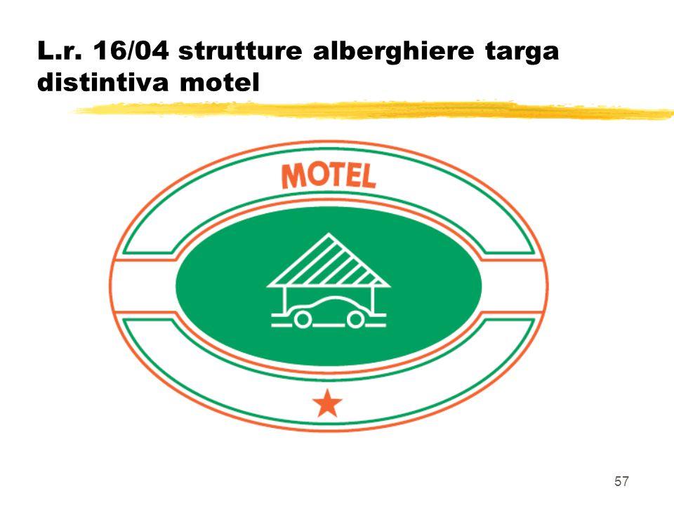 57 L.r. 16/04 strutture alberghiere targa distintiva motel