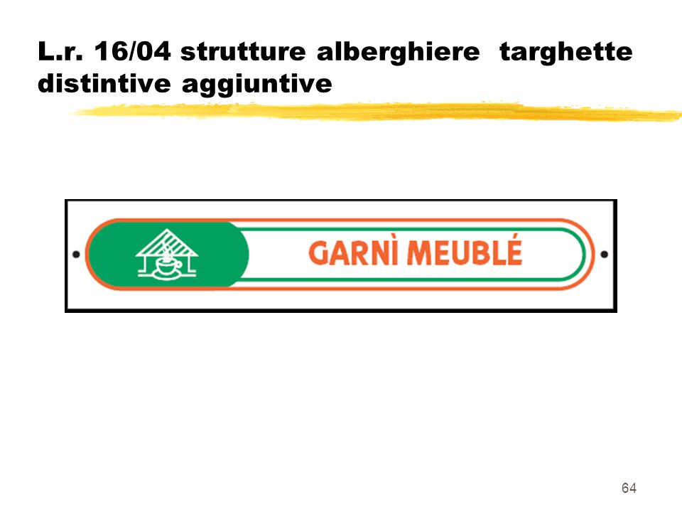 64 L.r. 16/04 strutture alberghiere targhette distintive aggiuntive