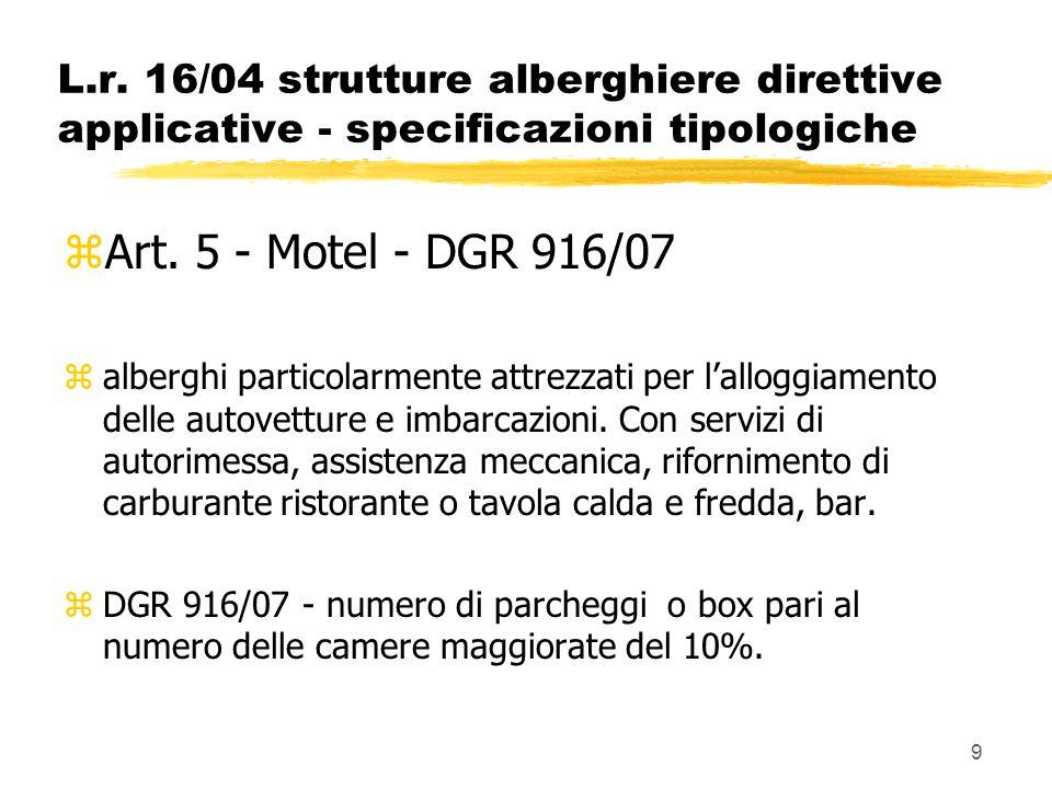 9 L.r. 16/04 strutture alberghiere direttive applicative - specificazioni tipologiche zArt. 5 - Motel - DGR 916/07 zalberghi particolarmente attrezzat