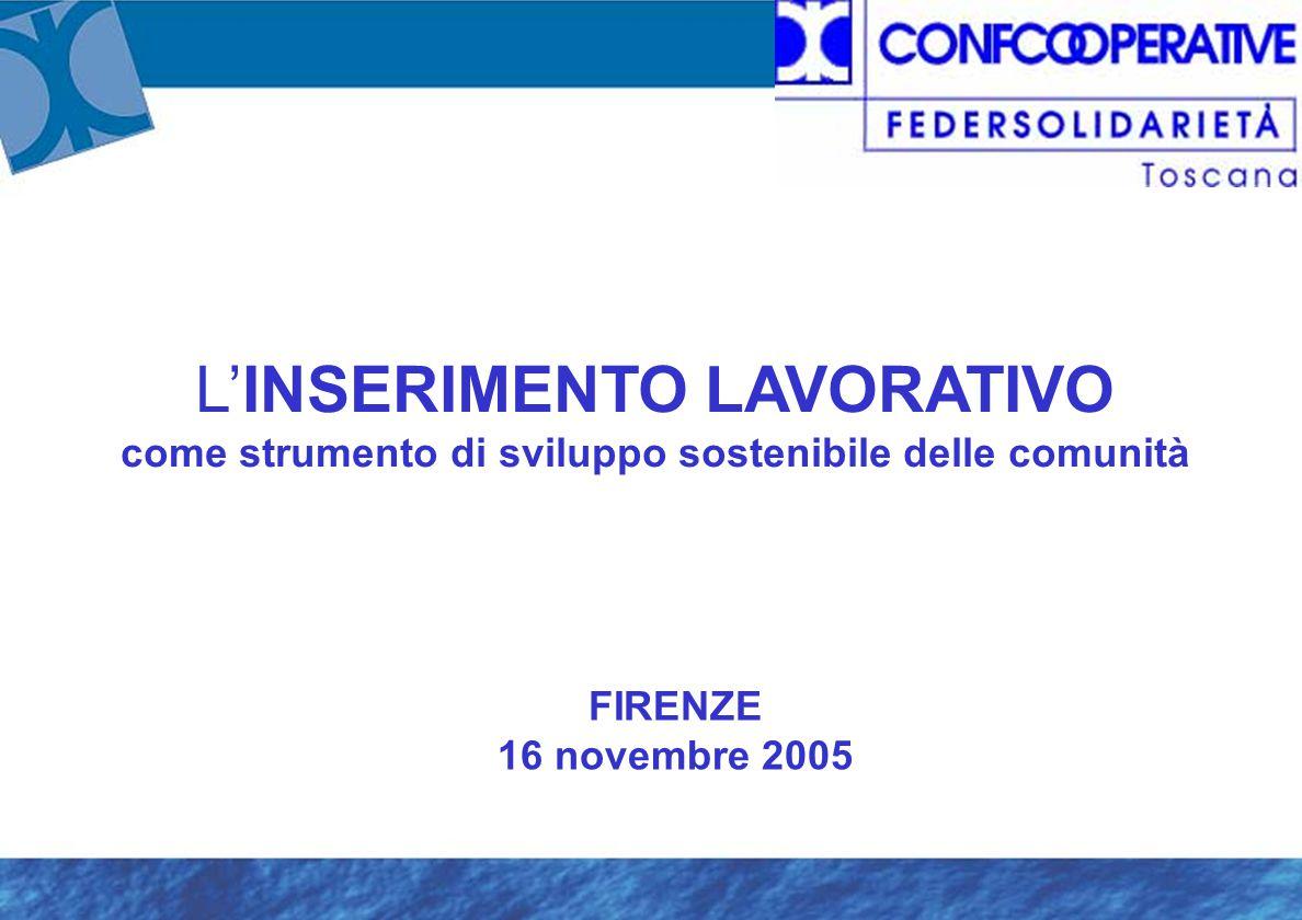 L'INSERIMENTO LAVORATIVO come strumento di sviluppo sostenibile delle comunità FIRENZE 16 novembre 2005