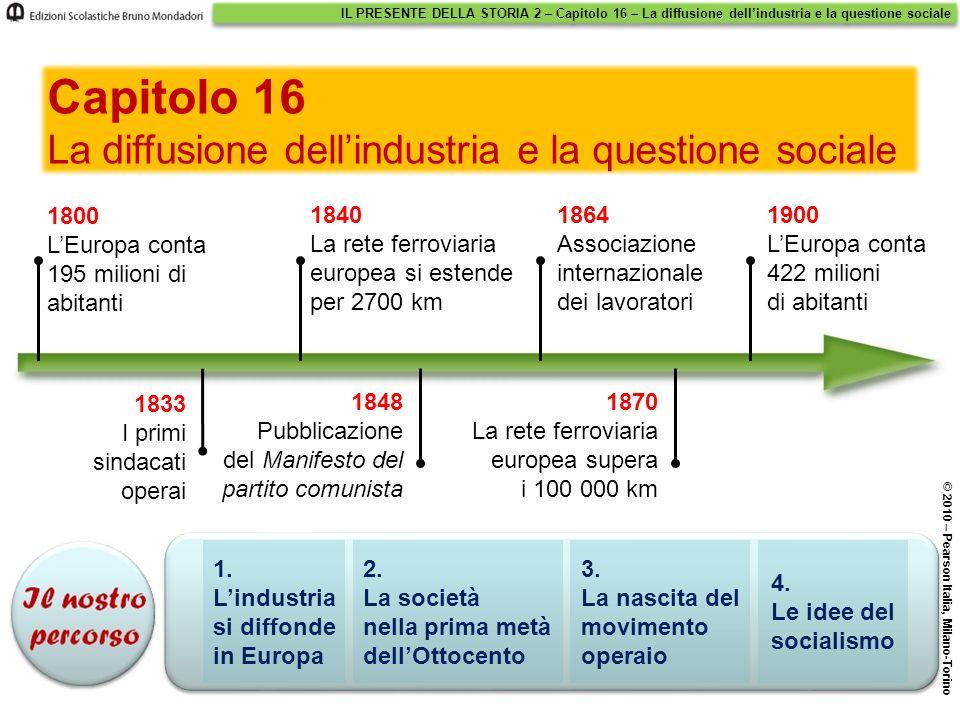 IL PRESENTE DELLA STORIA 2 – Capitolo 16 – La diffusione dell'industria e la questione sociale © 2010 – Pearson Italia, Milano-Torino 1. L'industria s