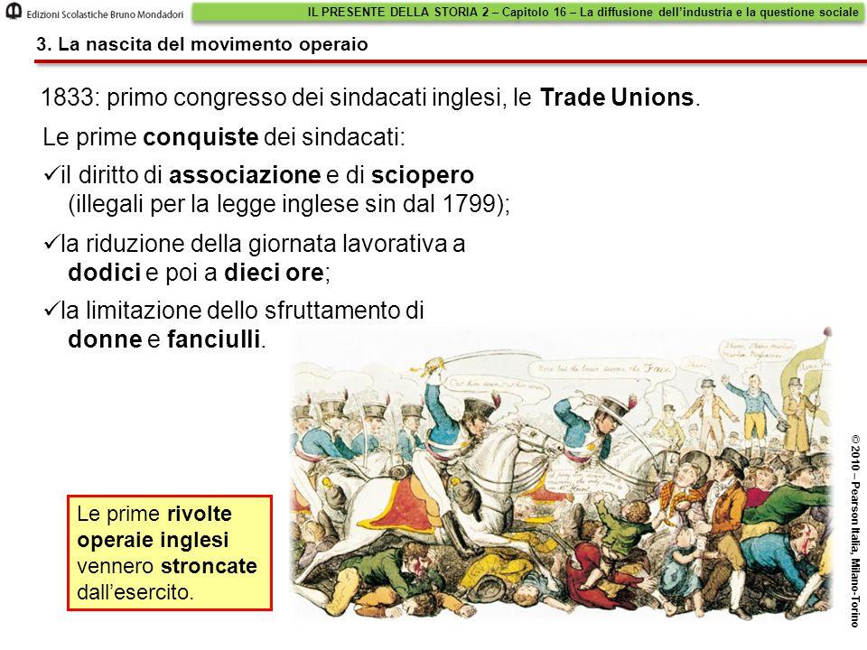 1833: primo congresso dei sindacati inglesi, le Trade Unions. Le prime conquiste dei sindacati: Le prime rivolte operaie inglesi vennero stroncate dal