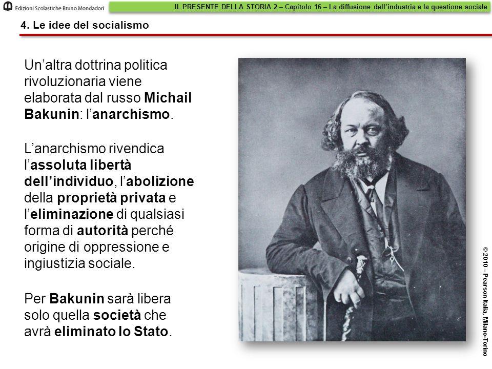 Un'altra dottrina politica rivoluzionaria viene elaborata dal russo Michail Bakunin: l'anarchismo. L'anarchismo rivendica l'assoluta libertà dell'indi