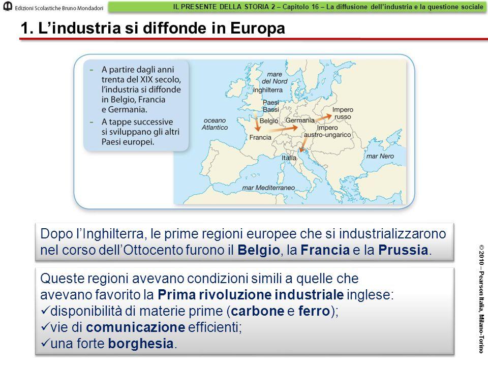 Dopo l'Inghilterra, le prime regioni europee che si industrializzarono nel corso dell'Ottocento furono il Belgio, la Francia e la Prussia.