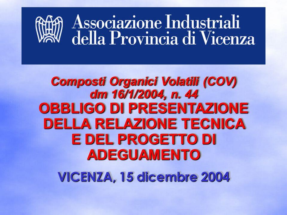 VICENZA, 15 dicembre 2004 Composti Organici Volatili (COV) dm 16/1/2004, n. 44 OBBLIGO DI PRESENTAZIONE DELLA RELAZIONE TECNICA E DEL PROGETTO DI ADEG