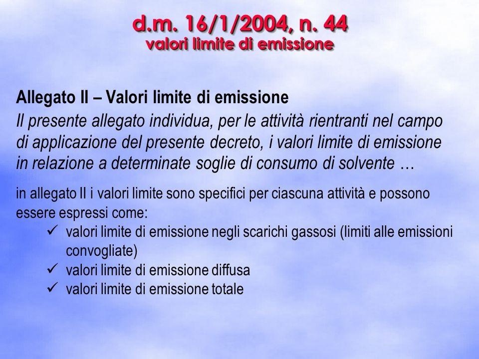 d.m. 16/1/2004, n. 44 valori limite di emissione Allegato II – Valori limite di emissione Il presente allegato individua, per le attività rientranti n
