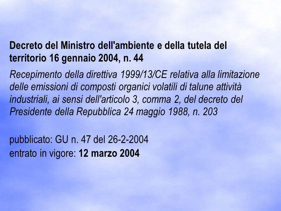 Decreto del Ministro dell'ambiente e della tutela del territorio 16 gennaio 2004, n. 44 Recepimento della direttiva 1999/13/CE relativa alla limitazio