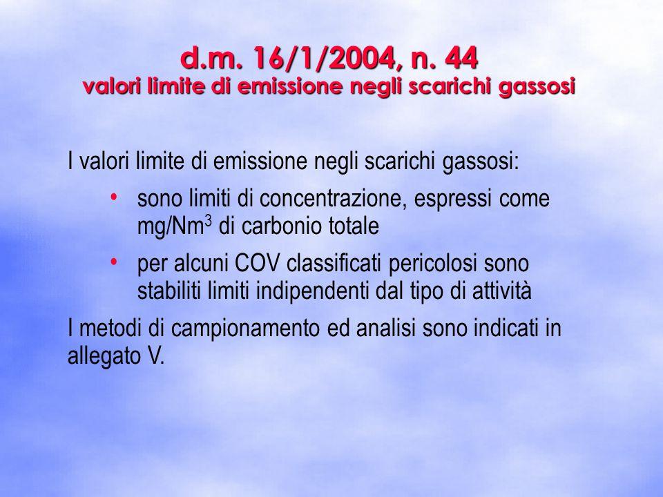 d.m. 16/1/2004, n. 44 valori limite di emissione negli scarichi gassosi I valori limite di emissione negli scarichi gassosi: sono limiti di concentraz