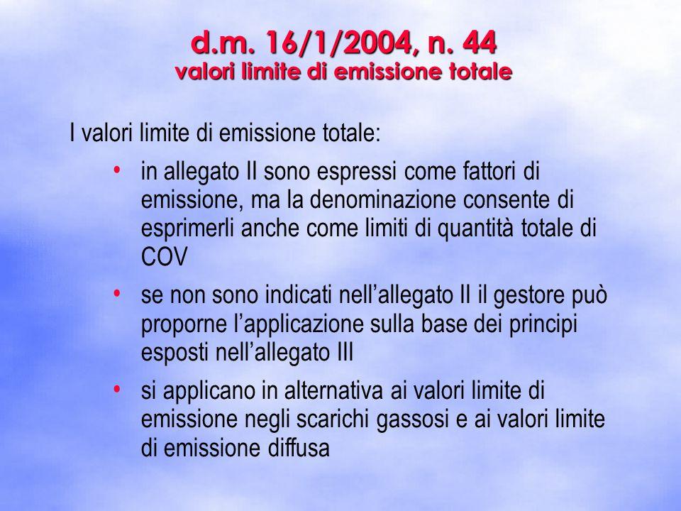 I valori limite di emissione totale: in allegato II sono espressi come fattori di emissione, ma la denominazione consente di esprimerli anche come lim