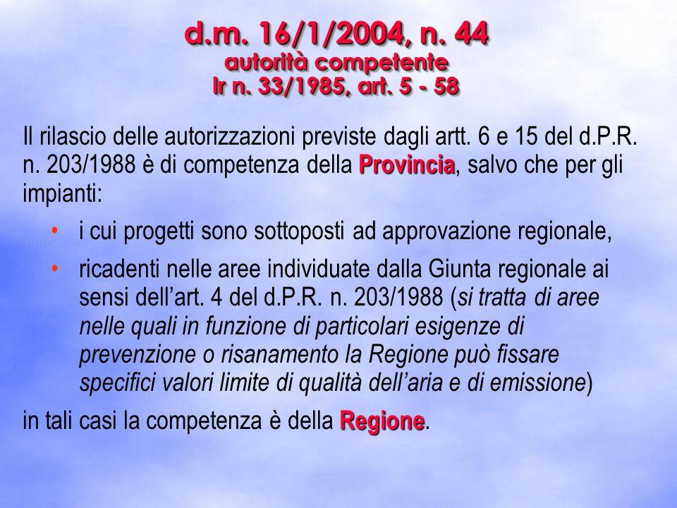 d.m. 16/1/2004, n. 44 autorità competente lr n. 33/1985, art. 5 - 58 Provincia Il rilascio delle autorizzazioni previste dagli artt. 6 e 15 del d.P.R.