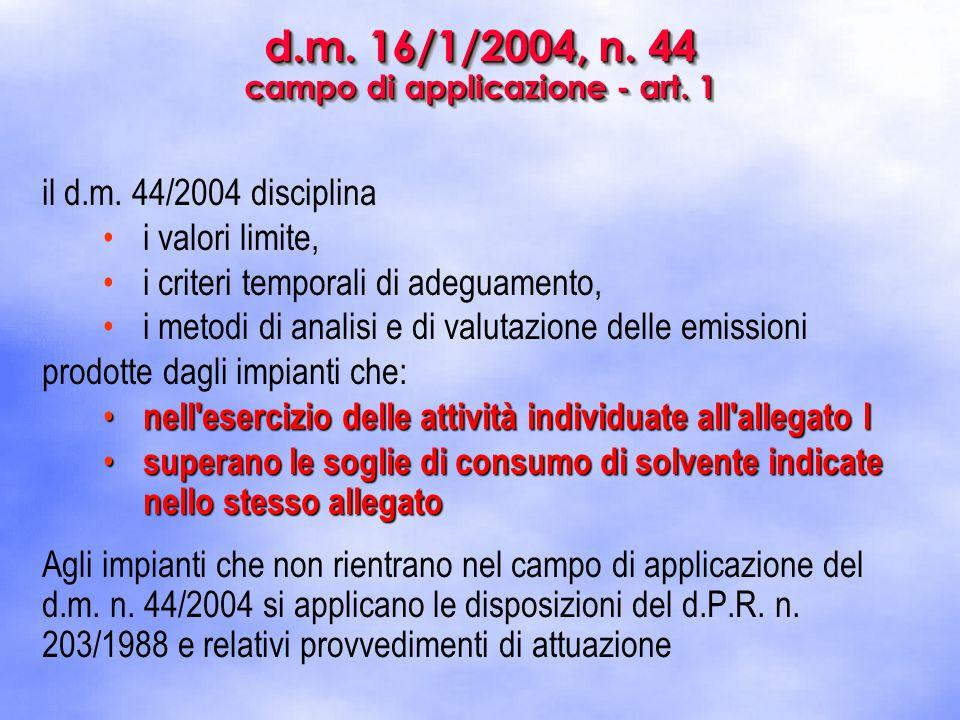 d.m. 16/1/2004, n. 44 campo di applicazione - art. 1 il d.m. 44/2004 disciplina i valori limite, i criteri temporali di adeguamento, i metodi di anali