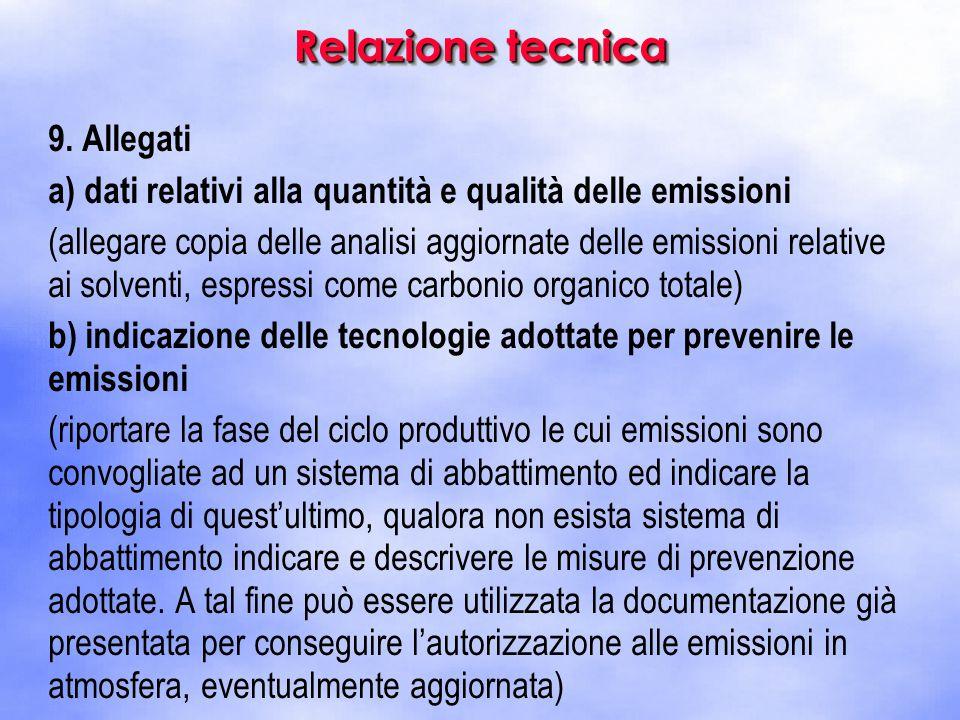 9. Allegati a) dati relativi alla quantità e qualità delle emissioni (allegare copia delle analisi aggiornate delle emissioni relative ai solventi, es