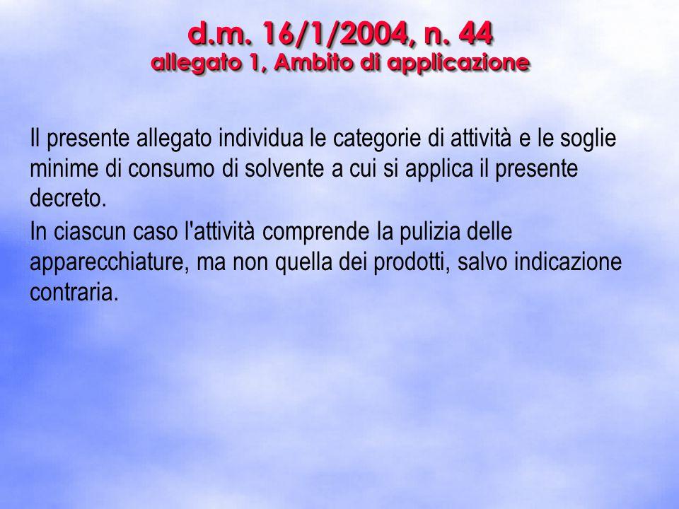 d.m. 16/1/2004, n. 44 allegato 1, Ambito di applicazione Il presente allegato individua le categorie di attività e le soglie minime di consumo di solv