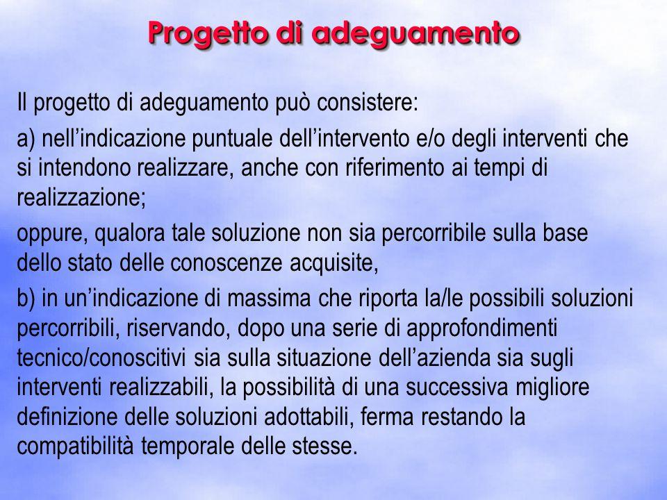 Il progetto di adeguamento può consistere: a) nell'indicazione puntuale dell'intervento e/o degli interventi che si intendono realizzare, anche con ri