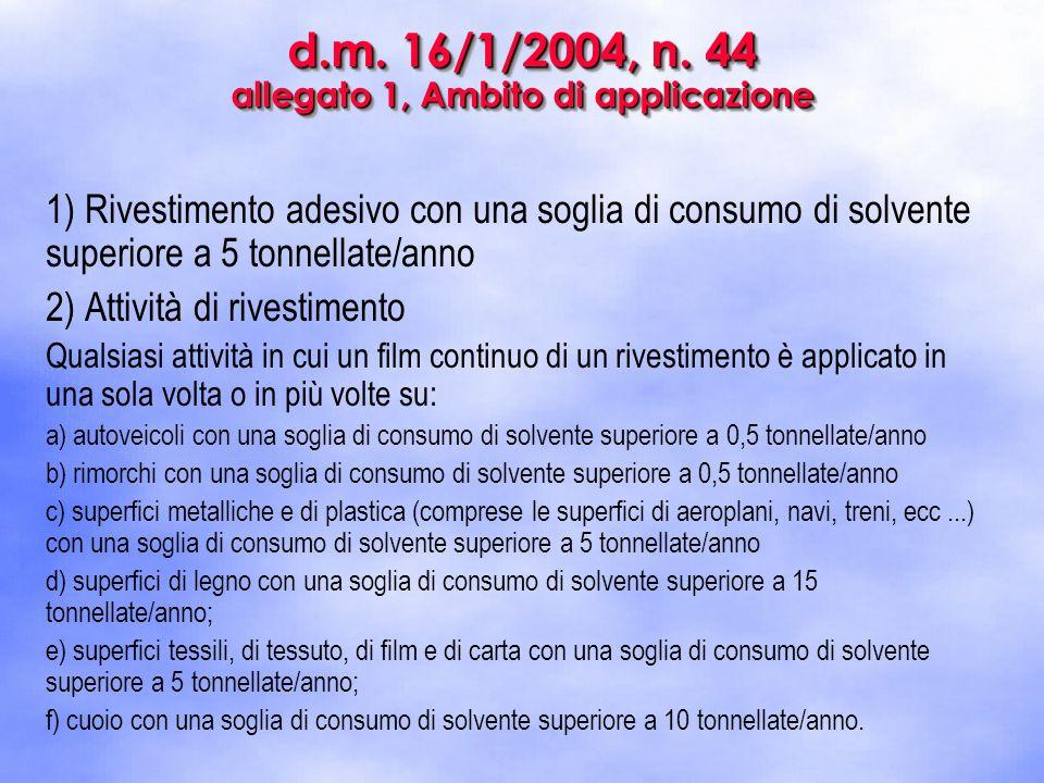 d.m. 16/1/2004, n. 44 allegato 1, Ambito di applicazione 1) Rivestimento adesivo con una soglia di consumo di solvente superiore a 5 tonnellate/anno 2