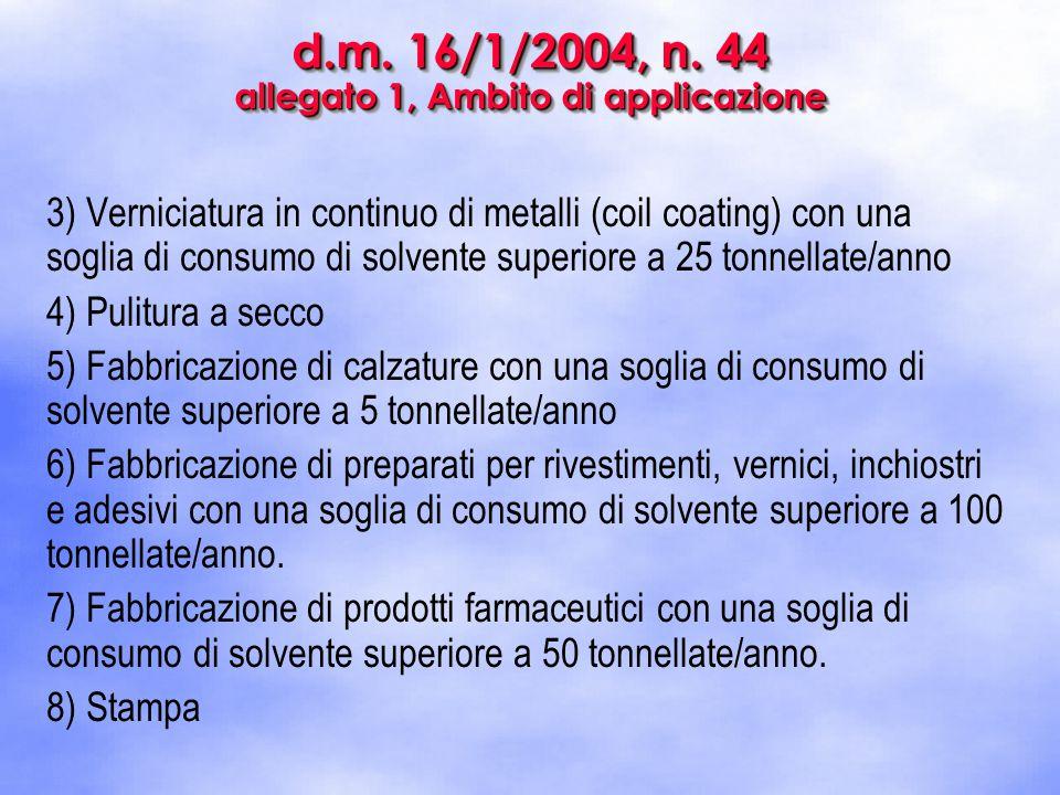 d.m. 16/1/2004, n. 44 allegato 1, Ambito di applicazione 3) Verniciatura in continuo di metalli (coil coating) con una soglia di consumo di solvente s