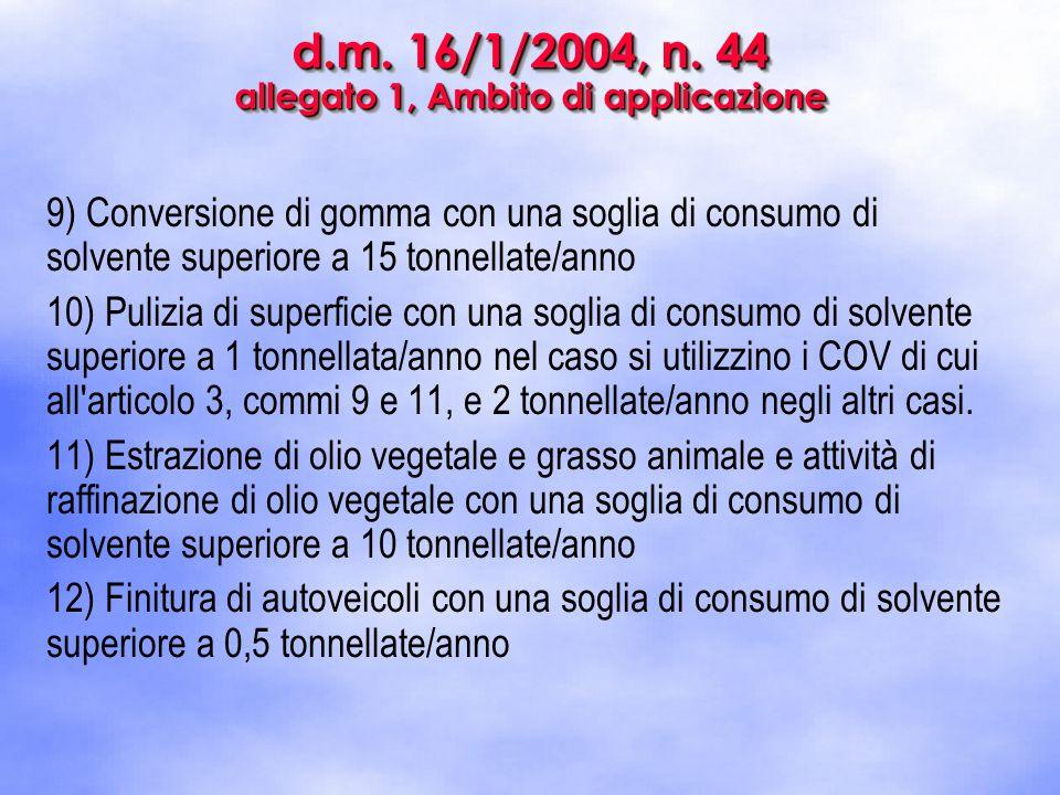 d.m. 16/1/2004, n. 44 allegato 1, Ambito di applicazione 9) Conversione di gomma con una soglia di consumo di solvente superiore a 15 tonnellate/anno