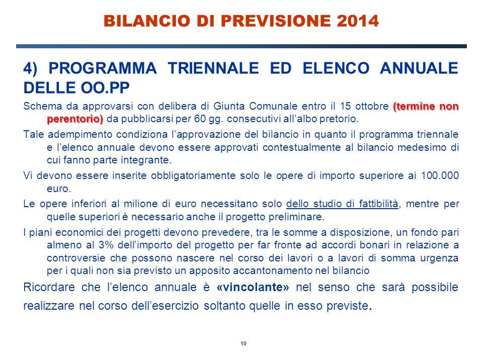 10 BILANCIO DI PREVISIONE 2014 4) PROGRAMMA TRIENNALE ED ELENCO ANNUALE DELLE OO.PP (termine non perentorio) Schema da approvarsi con delibera di Giun