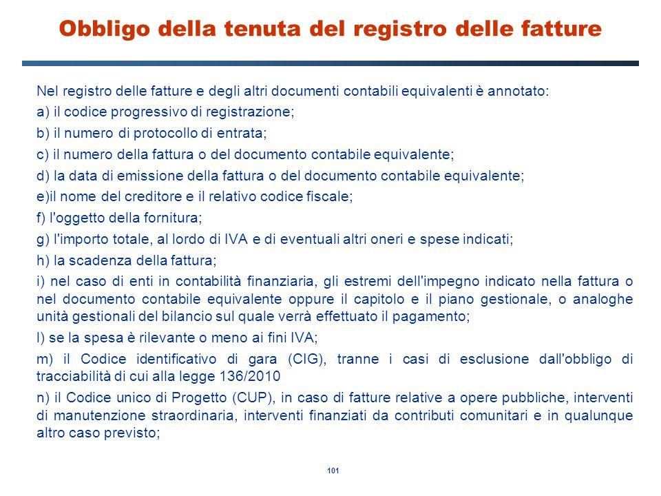 101 Obbligo della tenuta del registro delle fatture Nel registro delle fatture e degli altri documenti contabili equivalenti è annotato: a) il codice