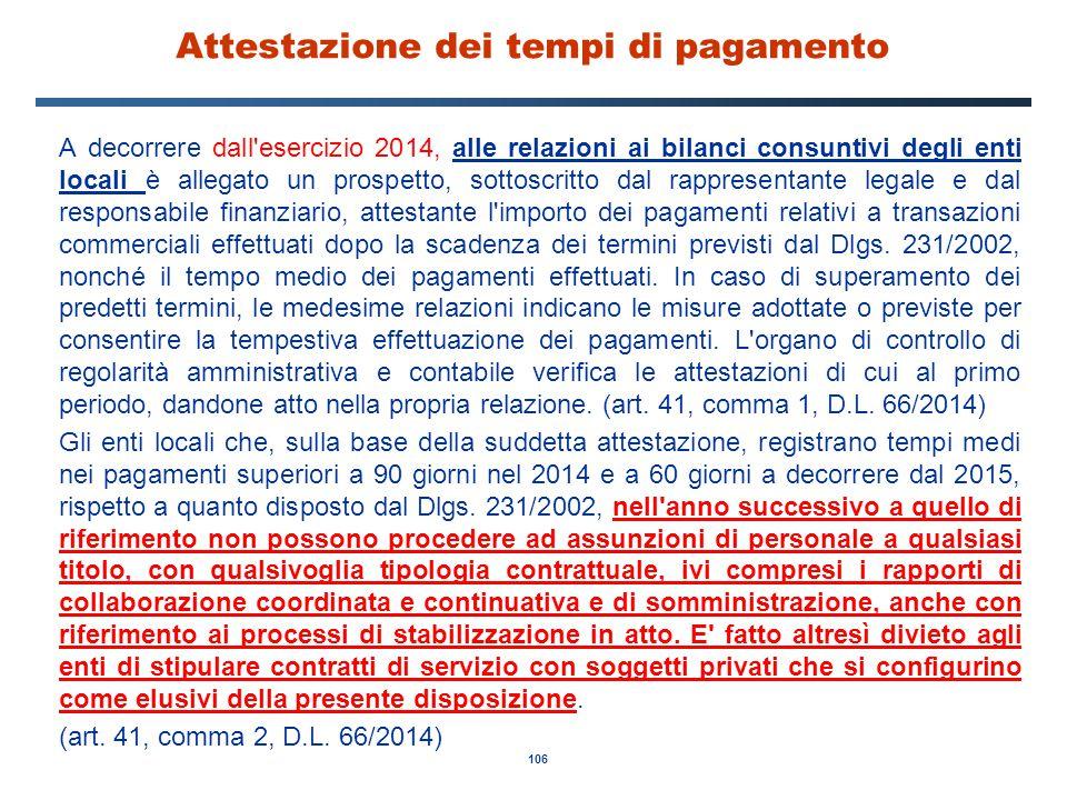 106 Attestazione dei tempi di pagamento A decorrere dall'esercizio 2014, alle relazioni ai bilanci consuntivi degli enti locali è allegato un prospett
