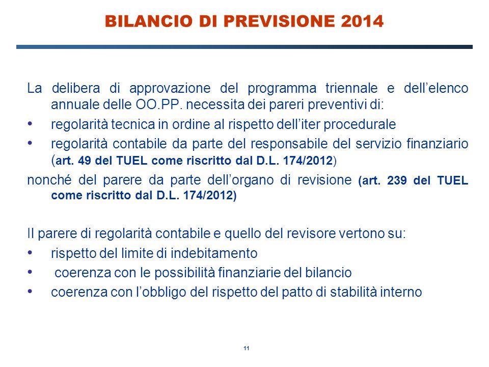 11 BILANCIO DI PREVISIONE 2014 La delibera di approvazione del programma triennale e dell'elenco annuale delle OO.PP. necessita dei pareri preventivi