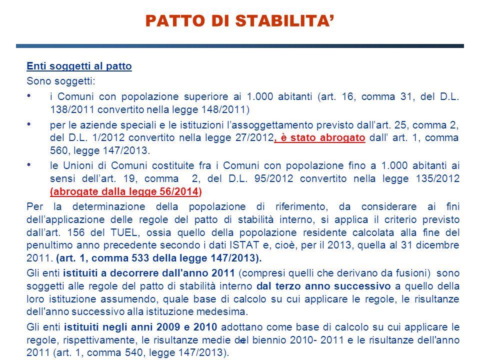 12 PATTO DI STABILITA' Enti soggetti al patto Sono soggetti: i Comuni con popolazione superiore ai 1.000 abitanti (art. 16, comma 31, del D.L. 138/201
