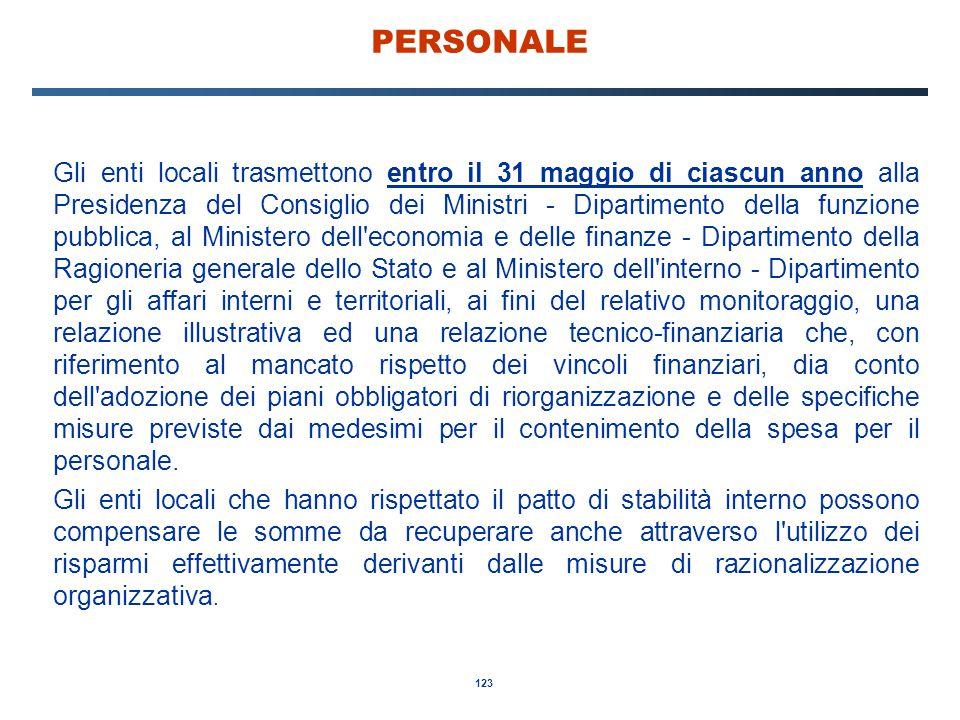 123 PERSONALE Gli enti locali trasmettono entro il 31 maggio di ciascun anno alla Presidenza del Consiglio dei Ministri - Dipartimento della funzione