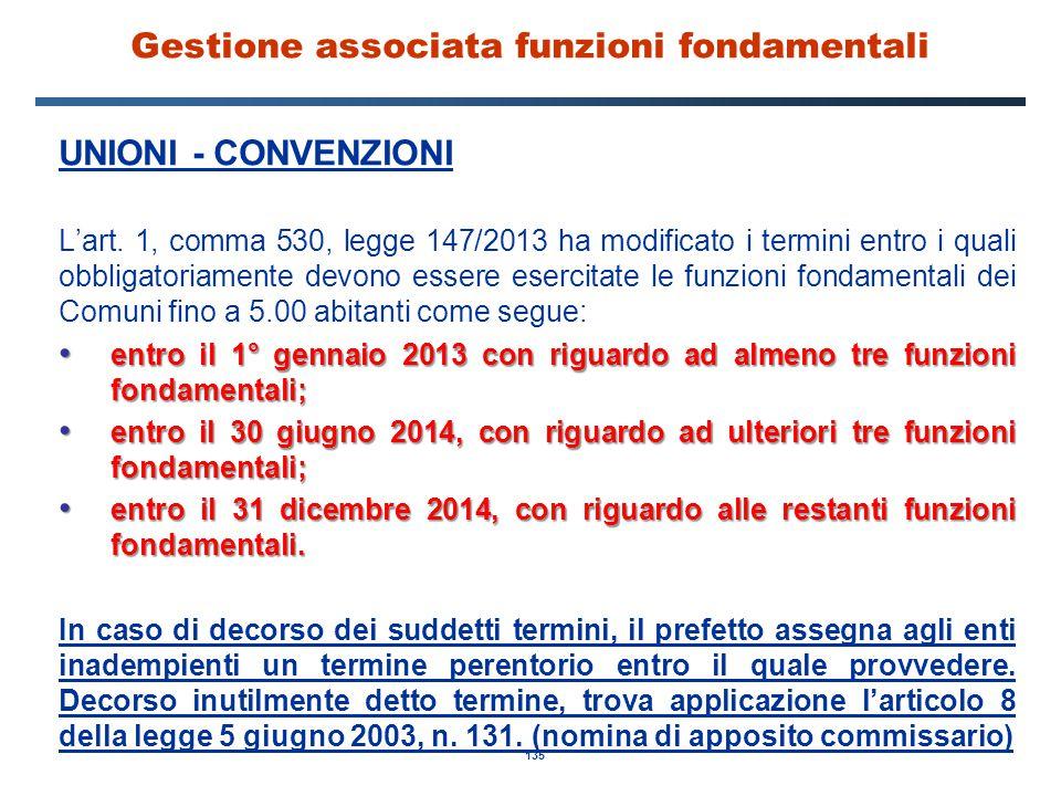 135 Gestione associata funzioni fondamentali UNIONI - CONVENZIONI L'art. 1, comma 530, legge 147/2013 ha modificato i termini entro i quali obbligator
