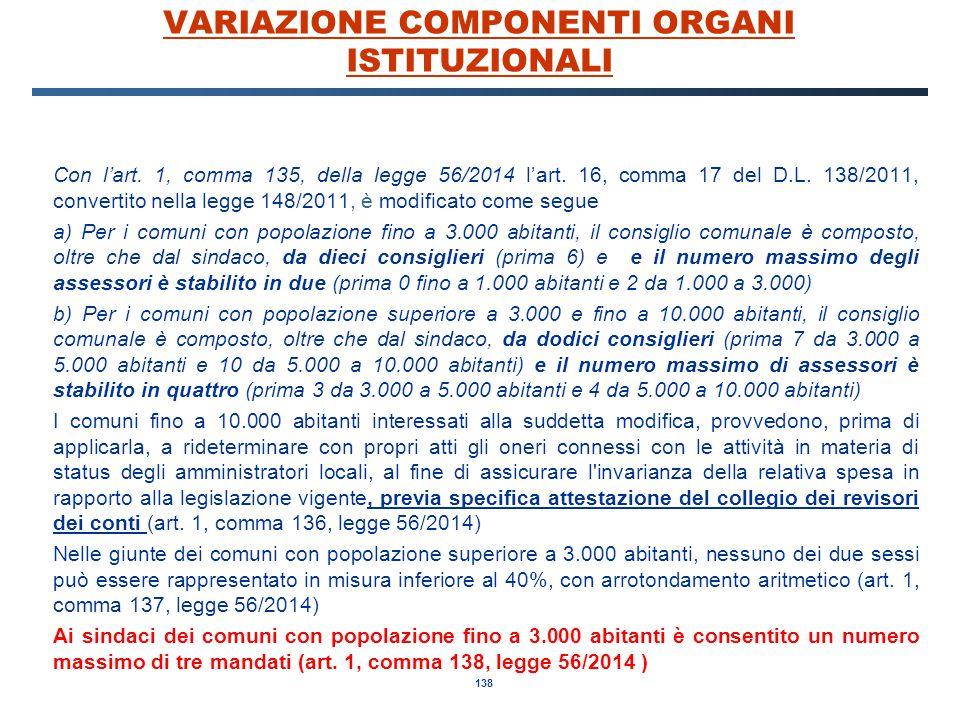 138 VARIAZIONE COMPONENTI ORGANI ISTITUZIONALI Con l'art. 1, comma 135, della legge 56/2014 l'art. 16, comma 17 del D.L. 138/2011, convertito nella le