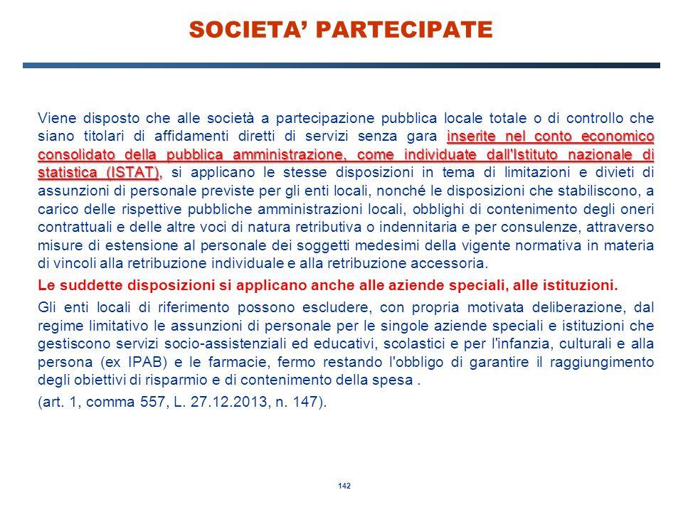 142 SOCIETA' PARTECIPATE inserite nel conto economico consolidato della pubblica amministrazione, come individuate dall'Istituto nazionale di statisti