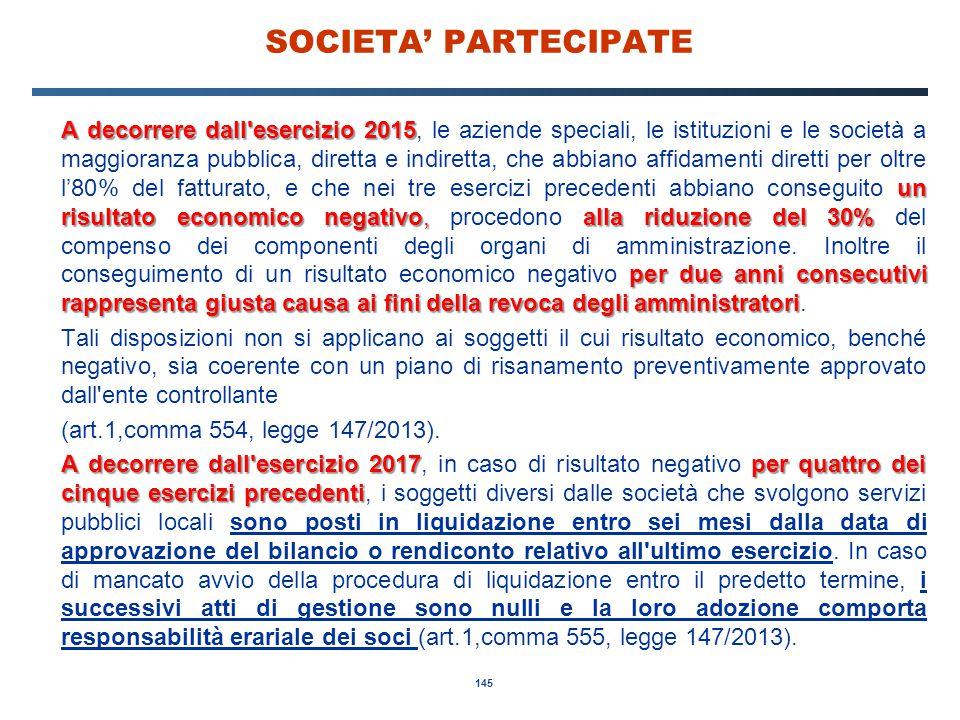 145 SOCIETA' PARTECIPATE A decorrere dall'esercizio 2015 un risultato economico negativo,alla riduzione del 30% per due anni consecutivi rappresenta g