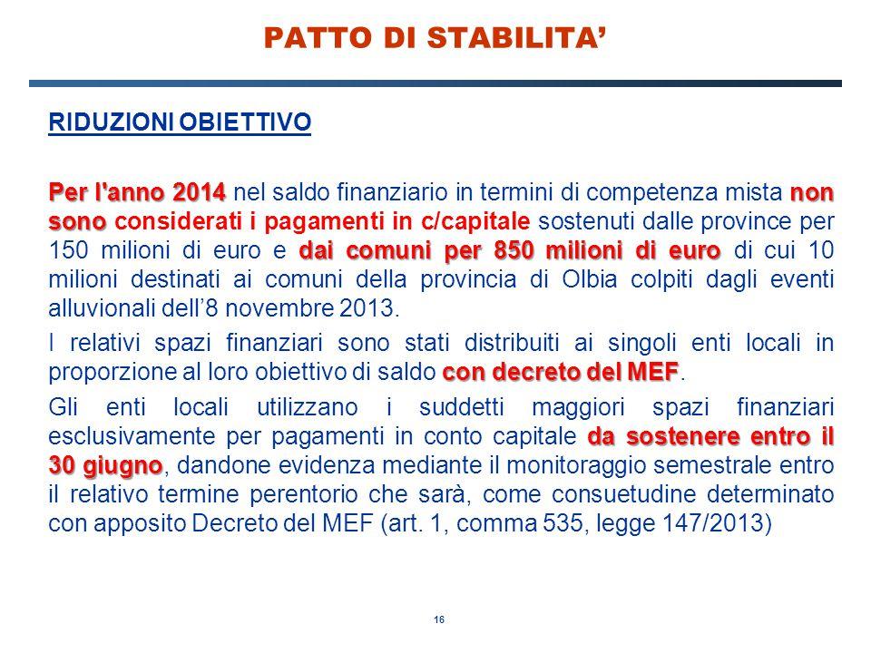 16 PATTO DI STABILITA' RIDUZIONI OBIETTIVO Per l'anno 2014 non sono dai comuni per 850 milioni di euro Per l'anno 2014 nel saldo finanziario in termin