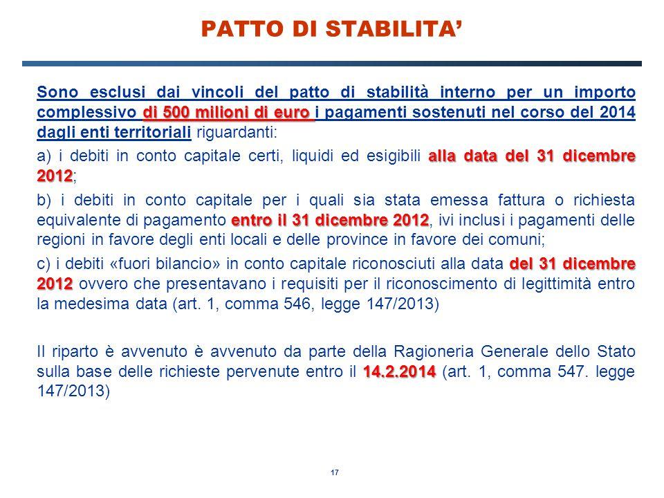 17 PATTO DI STABILITA' di 500 milioni di euro Sono esclusi dai vincoli del patto di stabilità interno per un importo complessivo di 500 milioni di eur