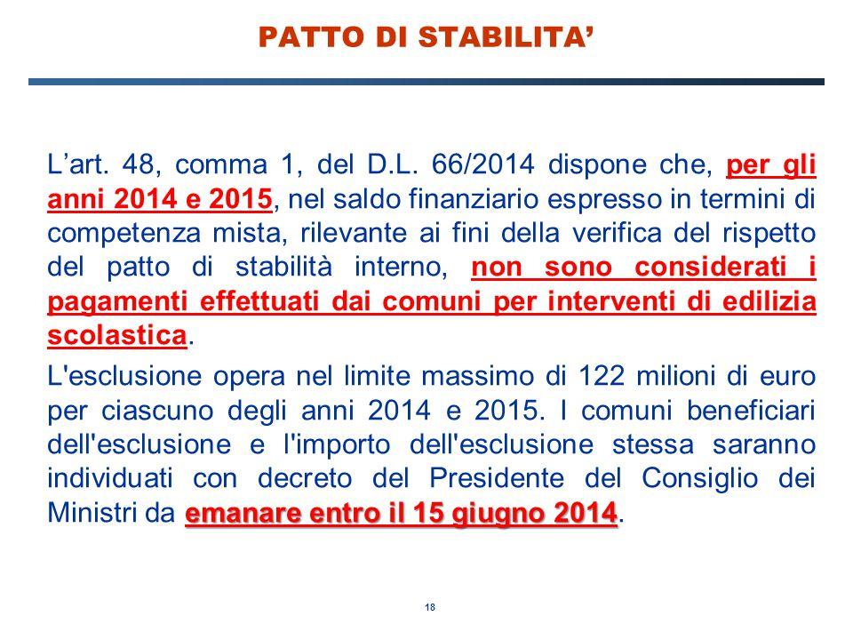 18 PATTO DI STABILITA' L'art. 48, comma 1, del D.L. 66/2014 dispone che, per gli anni 2014 e 2015, nel saldo finanziario espresso in termini di compet