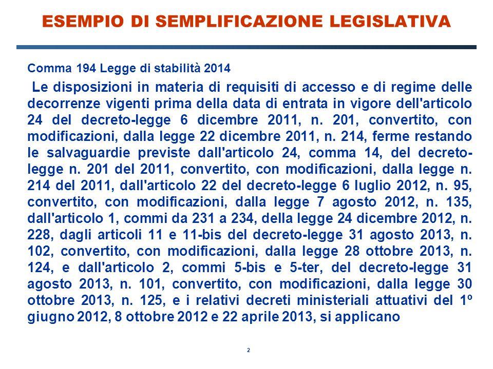 2 ESEMPIO DI SEMPLIFICAZIONE LEGISLATIVA Comma 194 Legge di stabilità 2014 Le disposizioni in materia di requisiti di accesso e di regime delle decorr