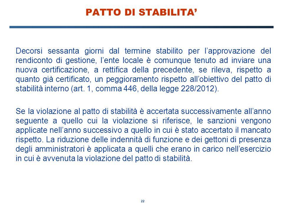 22 PATTO DI STABILITA' Decorsi sessanta giorni dal termine stabilito per l'approvazione del rendiconto di gestione, l'ente locale è comunque tenuto ad