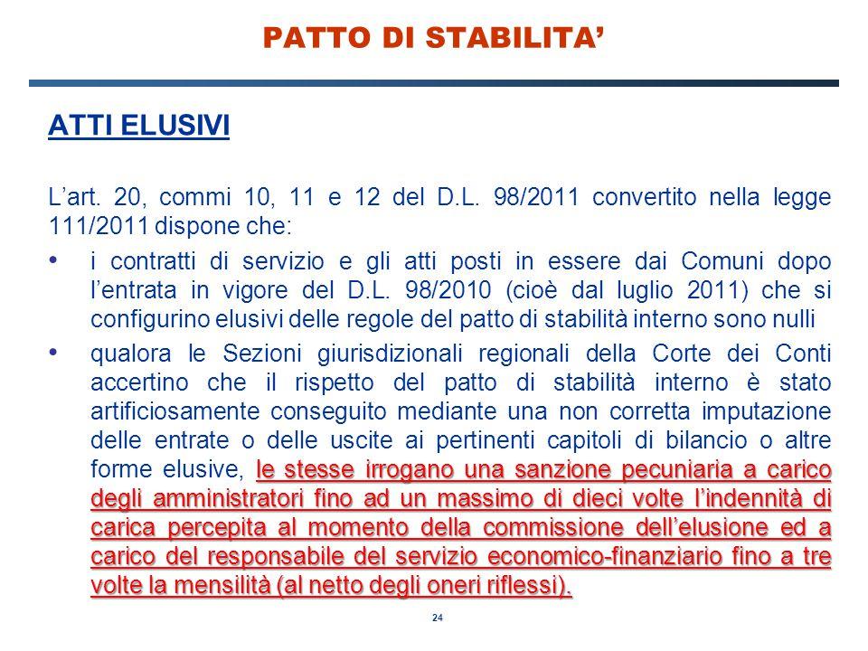 24 PATTO DI STABILITA' ATTI ELUSIVI L'art. 20, commi 10, 11 e 12 del D.L. 98/2011 convertito nella legge 111/2011 dispone che: i contratti di servizio