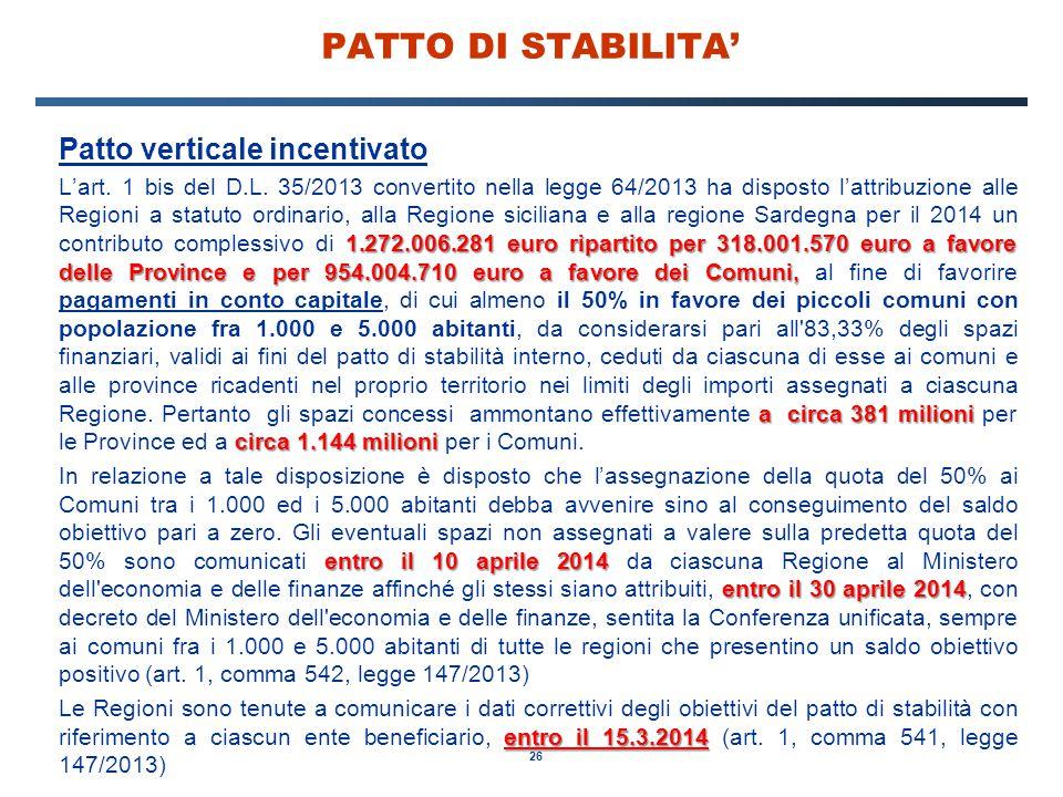 26 PATTO DI STABILITA' Patto verticale incentivato 1.272.006.281 euro ripartito per 318.001.570 euro a favore delle Province e per 954.004.710 euro a