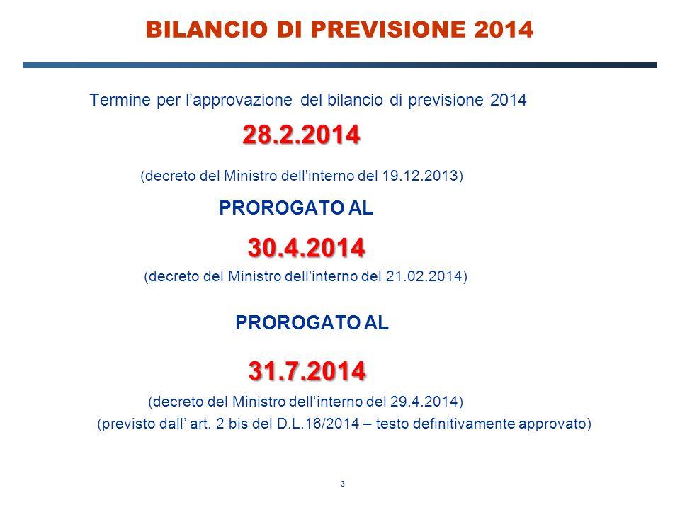 3 BILANCIO DI PREVISIONE 2014 Termine per l'approvazione del bilancio di previsione 2014 28.2.2014 (decreto del Ministro dell'interno del 19.12.2013)