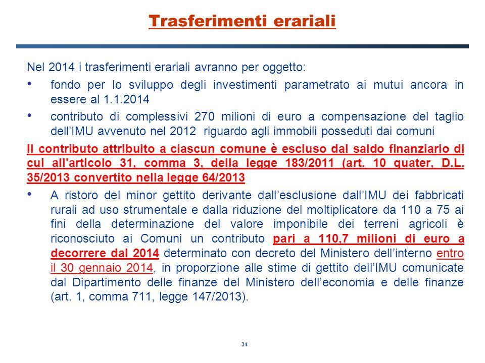 34 Trasferimenti erariali Nel 2014 i trasferimenti erariali avranno per oggetto: fondo per lo sviluppo degli investimenti parametrato ai mutui ancora